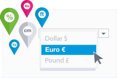Localize currencies, taxes and units of measure
